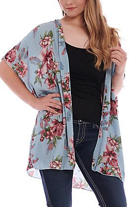 Panhandle Women's Light Blue Floral Print Kimono