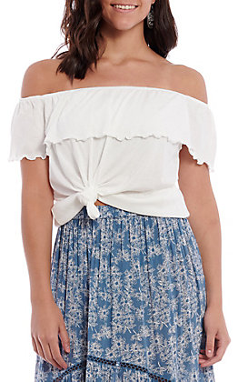 Panhandle Women's White Off The Shoulder Fashion Top