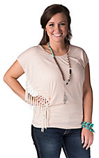 Panhandle Women's Peach Jersey Knit with Fringe Short Dolman Sleeve Tunic