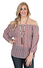 Panhandle Women's Blush and Navy Print 3/4 Cinched Sleeve Chiffon Fashion Top