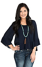 Panhandle Women's Navy Hi-Lo with 3/4 Bell Sleeves Fashion Top