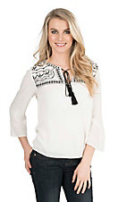Panhandle Women's White with Black Embroidered Yokes Long Sleeve Fashion Top
