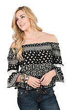 Panhandle Women's Black Bandana Print Off Shoulder 3/4 Sleeve Fashion Top