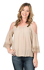 Panhandle Women's Beige with Crochet Details and Cold Shoulder 3/4 Sleeve Fashion Top