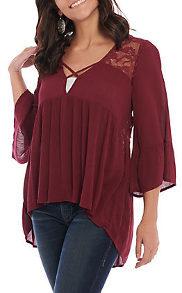 Panhandle Women's Burgundy Lace and Crochet Flared Sleeve Top