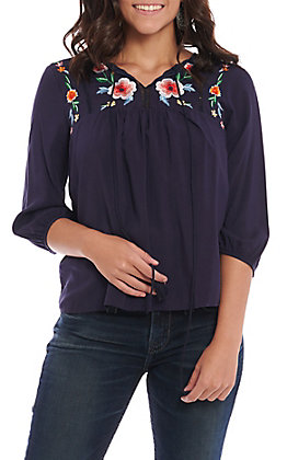 Panhandle Women's Navy Blue Floral Embroidered Fashion Top