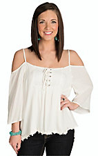 Panhandle Women's Natural Drop Shoulder Peasant Top