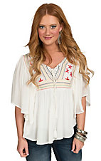 Panhandle Women's Ivory Crepe Dolman Embroidered Bib Top