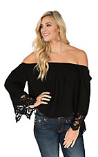 Pandhandle Women's Black Off the Shoulder Crinkle Long Sleeve Peasant Fashion Top
