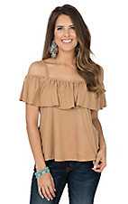Panhandle Women's Suede Off The Shoulder Fashion Shirt