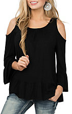 Panhandle Women's Black Cold Shoulder Fashion Shirt