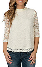 Panhandle Women's Cream Lace 3/4 Sleeve Swing Fashion Shirt