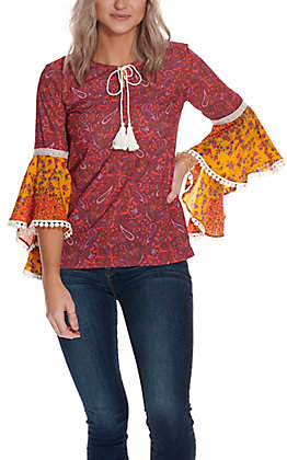 Panhandle Women's Pink & Yellow Paisley Floral Print 3/4 Bell Sleeve Fashion Top