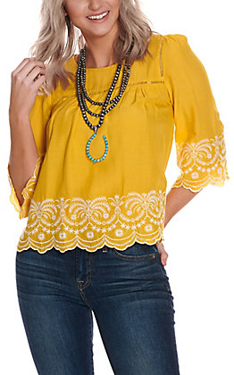 Panhandle Women's Yellow with White Embroidery Scalloped Hem 3/4 Sleeve Fashion Top