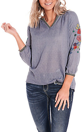 Panhandle Women's Denim Blue with Floral Embroidery Long Sleeve Fashion Top