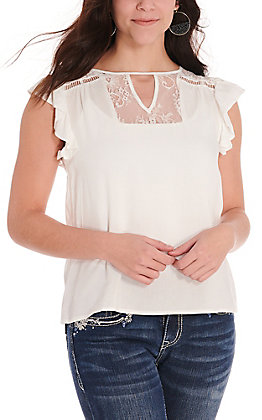 Panhandle Women's White with Lace Short Flutter Sleeves Fashion Top