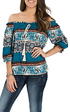 Panhandle Women's Teal, Orange and White Stripe Crinkle Off the Shoulder Fashion Shirt