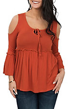Panhandle Women's Orange Cold Shoulder Baby Doll Fashion Shirt