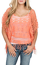 Panhandle Women's Coral Crochet w/ Fringe Poncho