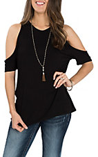 Panhandle Women's Black Cold Shoulder Casual Knit Shirt