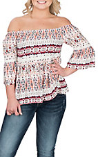 Panhandle Women's White and Crepe Print Off the Shoulder Fashion Shirt