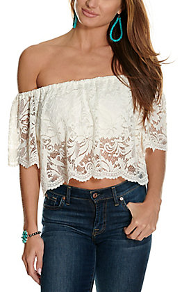 Panhandle Women's White Lace Off the Shoulder Cropped Fashion Top