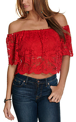 Panhandle Women's Red Lace Off the Shoulder Cropped Fashion Top