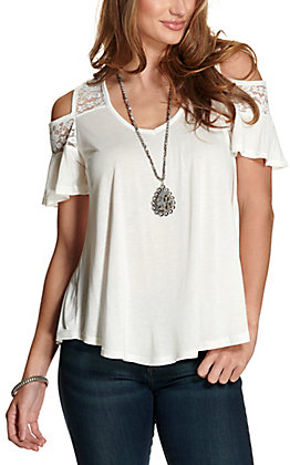 Panhandle Women's White with Lace Cold Shoulder Short Sleeve Fashion Top