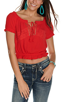 Panhandle Women's Red with Lace Short Sleeve Cropped Fashion Top