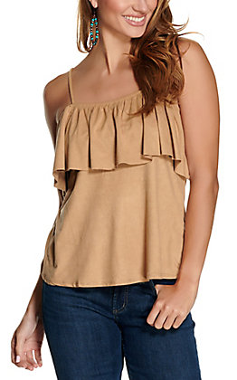 Panhandle Women's Tan Suede with Ruffle Off the Shoulder Tank Top