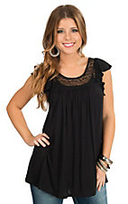 Panhandle Women's Black with Lace Yokes Flutter Cap Sleeve Knit Tunic