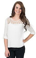 Panhandle Women's White with Floral Crochet Yoke 3/4 Sleeve Gauze Top