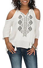 Pandhandle Women's White W/ Black Embroidery Cold Shoulder Fashion Shirt