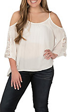 Panhandle Women's White Cold Shoulder Lace Sleeve Fashion Shirt