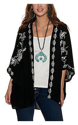 Panhandle Women's Black Embroidered Kimono