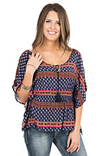 Panhandle Women's Navy with Pink Stripe Detail Bat-Wing Sleeve Fashion Top