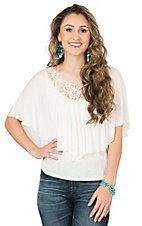 Panhandle Women's Cream with Crochet Neckline Bat-Wing Sleeve Fashion Top