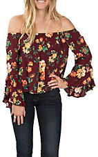 Panhandle Women's Burgundy Bell Sleeve Floral Top