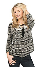 Panhandle Women's Black and White Print with Tassel Tie and Cinched 3/4 Sleeves Fashion Top