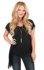 Panhandle Women's Black with Fringe on Sides Short Sleeve Casual Knit Tunic Top