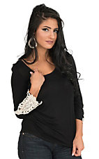 Rock & Roll Cowgirl Women's Black with Cream Crochet Detailing on 3/4 Sleeves Casual Knit Top
