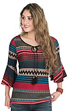 Panhandle Women's Burgundy, Teal, Black, and Cream Aztec Print 1/2 Bell Sleeve Hacci Knit Fashion Top