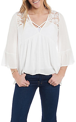 Panhandle Women's Ivory Criss Cross Lace Sleeve Fashion Shirt