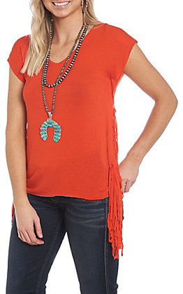 Panhandle Women's Deep Orange Cap Sleeve Fringe Casual Knit Top
