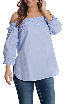 Panhandle Women's Pinstripe Off The Shoulder Fashion Top