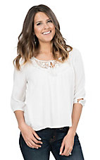 Panhandle Women's White with Crochet Detailed Neckline 3/4 Sleeve Fashion Top