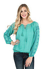 Panhandle Women's Teal with Blue Embroidered Long Sleeves Peasant Fashion Top
