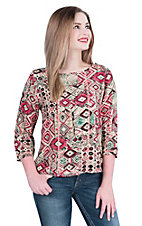 Panhandle Women's Cream, Pink, and Green Aztec Print 3/4 Sleeve Fashion Top