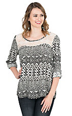 Panhandle Women's Black and White Print with Lace Yokes 3/4 Sleeve Fashion Top