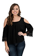 Panhandle Women's Black with Crochet Detailing Cold Shoulder Short Sleeve Fashion Top